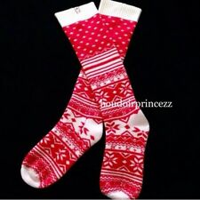 Victoria's Secret Red Knee high Cashmere Blend Socks Christmas Snowflake XS S
