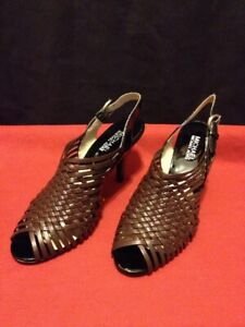 Michael by Michael Kors Black & Brown Slingback Heel Shoes Women's Size 8.5 M