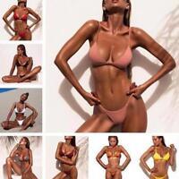 Donna Set Bikini costume reggiseno imbottito tanga da bagno spiaggia hot