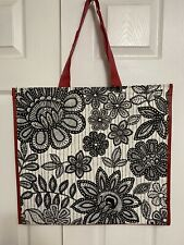NEW Marshalls Large Shopping Bag Black White Floral Print Reusable Travel Tote