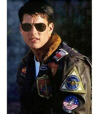 Tom Cruise Top Gun Pilot Brown Fur Collar Men's Leather Jacket