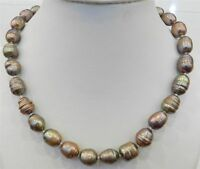"""10-11MM CHAMPAGNE NATURAL TAHITIAN PEARL NECKLACE 18"""" AAA"""