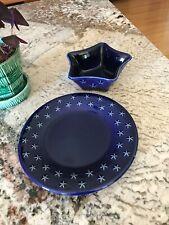 Longaberger Pottery Proudly American Star Plate & P.A. Mini Star Dish