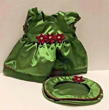 American Girl Doll Holiday Christmas Bitty Baby Green Dress Beret Hat Poinsettia