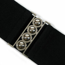 RETRO ELASTICATED PLAIN BLACK WIDE WAIST BELT - 80's style Cinch Silver Buckle