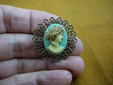 (CS24-8) ROMAN Lady blue CAMEO Pin Pendant Jewelry brooch necklace