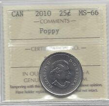 **2010 Poppy**,ICCS Graded Canadian, 25 Cent, **MS-66**