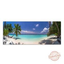 Glasbilder Echtglas Meer Strand Palmen Wandbild 125x50cm Float