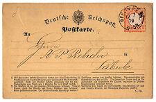 1872, 12.7., DR, 1/2 Gr. orange, kleines Schild als EF auf Vordruck-PK, MiNr. 14