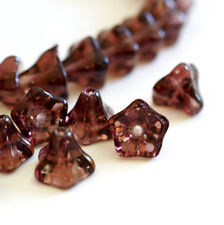 Sale 20pcs Small Morning Glory Plum Glass Beads 9x6mm