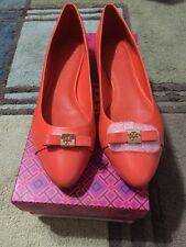 Tory Burch Hugo Ballet Flat Leather Tiger Lily 801 Orange Size 8 NEW Boxed