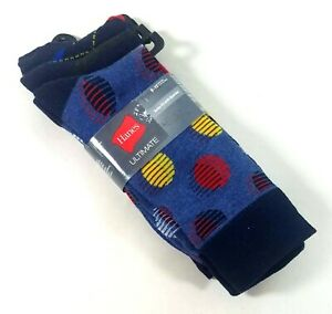 Lot of 3 Hanes Ultimate Mens Crew Socks with Spandex Shoe Size 6-12 Black / Blue