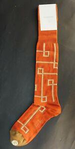 VK Nagrani Men's Dress Socks Over The Calf CROSS L333 ORANGE