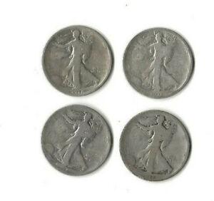 Lot of four (4) 1918 s circulated 90% silver Walking Liberty half dollars