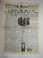 N796 La Une Du Journal Le Matin 31 octobre 1940 maréchal Pétain Hitler