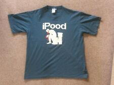 Novelty iPOOD slogan greeny blue cotton short sleeve T-shirt L - XL