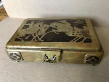 Antique Arts & Crafts Oeriod Bronze, Brass Box Featuring Medeival Knights Joust