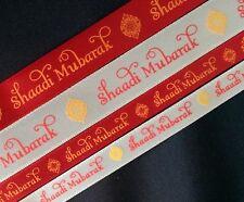 Shaadi Mubarak red and cream printed 10/16mm satin ribbon - Asian wedding Viyah