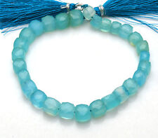 """NATURAL  -SKY BLUE Chalcedony Faceted 3D Cube Briolettes Beads 6.5- 8 MM 8"""""""