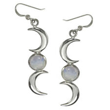 Sterling Silver Crescent Moon Phase Earrings Rainbow Moonstone Goddess Jewelry