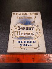 Vintage Sweet Herbs Rubbed Sage Crude Drugs Box With Content.