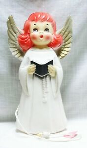 """BLOW MOLD ANGEL GOLD WINGS CHRISTMAS 13"""" TALL W/ LIGHT"""