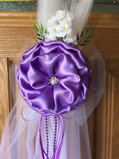 SET OF 6 Lilac Lavender Pew Bows, Chair Bows,  Arch,  Aisle, Table, Purple