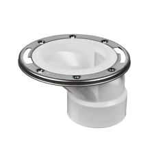3 in. PVC Open Offset Toilet Flange with Stainless Steel Ring