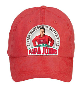 Papa John's Pizza Poster Adult Unstructured 100% Cotton Sports Caps Design Red