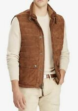 $898 New Polo Ralph Lauren XXL Brown Quilted Leather Suede Down Jacket Vest RRL