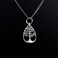 Solid 925 Sterling Silver Filigree Tree of LIfe Teardrop Pendant Chain Necklace