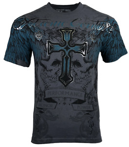 XTREME COUTURE by AFFLICTION Men's T-Shirt CARNIVORE Skulls Cross Biker S-5XL