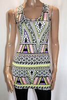 SUPRE Multicolour Tribal Print Racerback Cutout Bodycon Dress Size M BNWT #SE40