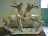 Coppia Antica CERBIATTI Ceramica Fiamma SESTO FIORENTINO 31x10 cm h 26cm Antique
