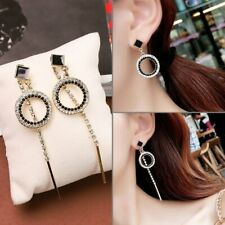 Fashion Silver Long Crystal Ring Earrings Women Asymmetry Stud Jewelry Gifts New