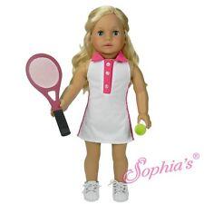 """Tennis Dress & Tennis Racquet Set fit 18"""" American Girl Doll sports"""