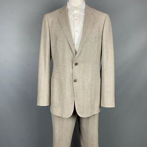 SUIT SUPPLY Size 48 L Brown Herringbone Wool Notch Lapel Suit