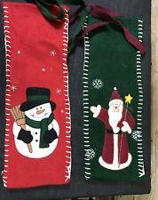 Set of 2 Christmas Santa Claus  and Snowman Wine Bottle Cover Felt