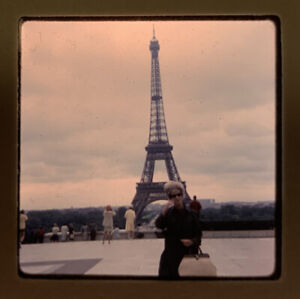 1965 Kodachrome Photo Slide 35mm Eiffel Tower Paris France Kodak Lady Tourist