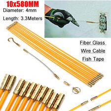 10pcs 4mm Cable Access Kit Electricians Puller Rods Wire Fish Tape Cable 580mm