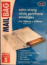 MAIL BAG EXTRA STRONG WHITE POLYTHENE SMALL MAILING ENVELOPES 160x230mmPACK of 5
