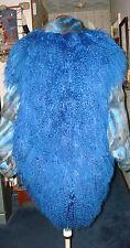 SZ M - 2X?  MONGOLIAN TIBETAN LAMB FUR COAT ROYAL BLUE W/ REX RABBIT RESTYLED