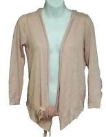 Zara Womens Silk Blend Sweater Open Front Tie Sweater Peach Long Sleeve Size S