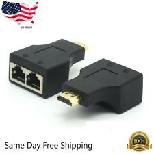 HDMI Extender to Dual RJ45 Over Cat 5e/6 Network Ethernet 4K Adapter HD 1080P US