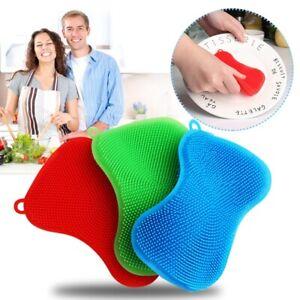Silicone Dish Washing Brush Sponge Scrubber Pot Pan Kitchen Cleaning Premium UK