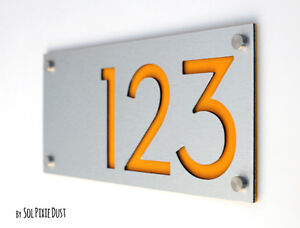 Modern House Numbers, Alucobond with Yellow Acrylic - Contemporary Home Address