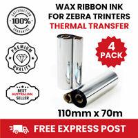 4 Rolls Zebra Ribbon for GK420T GX420T GX430T THERMAL TRANSFER RIBBON / WAX ROLL