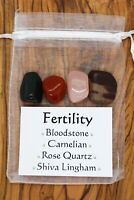 Fertility Crystal Set Shiva Lingham Rose Quartz Carnelian Bloodstone Pregnancy