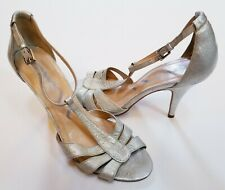 Nina High Heel Shoes Pumps Gold Leather Upper Open Toe Womens Size 7.5