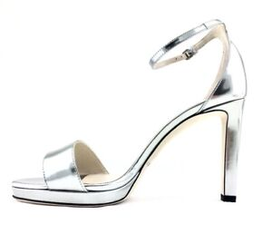 Jimmy Choo Women's Silver Leather Misty 120 Platform High-Heel Sandals US EU 39